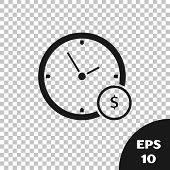 Black Time Is Money Icon Isolated On Transparent Background. Money Is Time. Effective Time Managemen poster