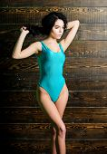 Sexy Fashionable Girl Summer Swimsuit. Swimsuit Fashion. Girl Attractive Sexy Body Posing In Swimsui poster