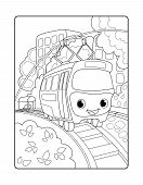 Cute Tram In Urban Landscape. Urban Landscape Vertical Vector Coloring Page For Children. Smiling Tr poster