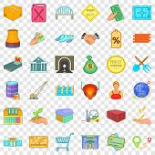 Economics Icons Set. Cartoon Style Of 36 Economics Vector Icons For Web For Any Design poster