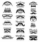 Mustache Party Or Movember Mens Health Vector Icons. Gro Mo Bro, No Shave Season Symbols Of Mustache poster
