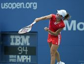 FLUSHING - AUGUST 30: Justine Henin-Hardenne of Belgium hits to Zuzana Ondraskova of the Czech Repub