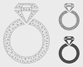 Mesh Jewelry Ring Model With Triangle Mosaic Icon. Wire Frame Triangular Mesh Of Jewelry Ring. Vecto poster