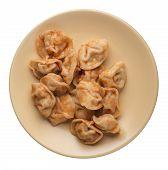 Dumplings On A Light Brown  Plate Isolated On White Background. Dumplings In Tomato Sauce. Dumplings poster