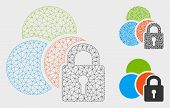Mesh Lock Colors Model With Triangle Mosaic Icon. Wire Frame Triangular Network Of Lock Colors. Vect poster