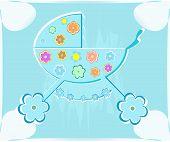 Vector Card For Babyshower. Perambulator For Boy