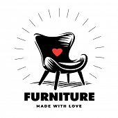 Armchair in a engraving style. Furniture logo poster