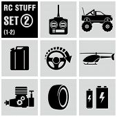 RC - vector black icon set 2. Remote control toys.