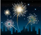 picture of guy fawks  - Many Fireworks over the city at the night - JPG