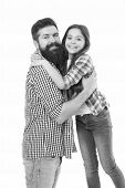 Happy Family. Bearded Man Father With Happy Daughter. Little Girl Love Her Father. Happy Moments. Fa poster
