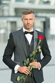 Dating Services. How To Be Romantic. Perfectionist Concept. Romantic Gentleman. Man Mature Confident poster