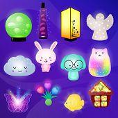 Night-lamp Vector Kids Nightly Light-lamp In Bedroom Illustration Set Of Childish Lighting Night Lam poster