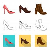 Isolated Object Of Footwear And Woman Logo. Collection Of Footwear And Foot Stock Vector Illustratio poster