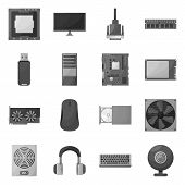 Vector Design Of Desktop And Technology Sign. Collection Of Desktop And Device Stock Symbol For Web. poster