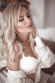 Beauty Wedding Makeup. Sexy Blonde Bride Portrait In White Shirt And Lingerie. Beautiful Fashion Blo poster