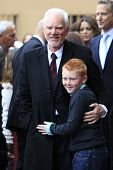 LOS ANGELES, CA - MAR 16: Malcolm McDowell, son Beckett at a ceremony where Malcolm McDowell is hono