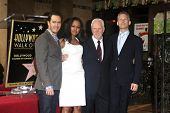 LOS ANGELES, CA - MAR 16: Reed Diamond, Malcolm McDowell, Garcelle Beauvais, Mark-Paul Gosselaar as Malcolm McDowell is honored with a star on the Walk of Fame on March 16, 2012 in Los Angeles, CA