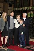 LOS ANGELES, CA - MAR 16: Malcolm McDowell, wife Kelley,daughter Lilly, son Charlie , son Beckett at