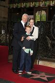 LOS ANGELES, CA - MAR 16: Malcolm McDowell, wife Kelley, son Beckett at a ceremony where Malcolm McD