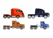 Semi Trailer Truck Vector Vehicle Transport Delivery Cargo Shipping Illustration Transporting Set Of poster