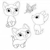 Kittens Kitten Line Book Coloring Isolated Illustration Vector poster