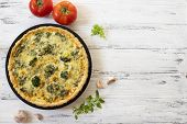 Traditional French Quiche With Cheese, Broccoli, Spinach And Chicken. Quiche Lorraine. French Cuisin poster