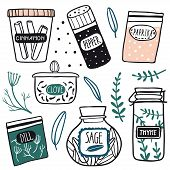Herbs And Spices Jars Icon Set: Cinnamon, Dill, Thyme, Sage, Clove, Pepper. Hand Drawn Vector Kitche poster