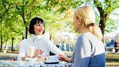 Trustful Communication. Girls Friends Drink Coffee And Enjoy Talk. True Friendship Friendly Close Re poster