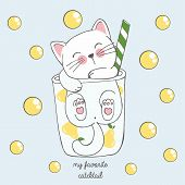 Vector Illustration Of Cute Kawaii Hand Drawn Cat In Anime Style In A Glass Of Pear Cocktail With Ye poster