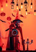 Happy Halloween Shirt. Halloween Pumpkin Head Jack Lantern With Burning Candles For Happy Family. Ha poster