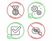 Do Or Stop. Work, Checkbox And Best Rank Icons Simple Set. Quick Tips Sign. Settings, Approved Tick, poster