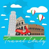 Colored Landscape With Famous Monuments From Italy. Travel To Italy - Vector poster