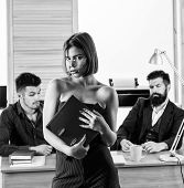 Sensual But Smart. Sensual Business Lady. Sensual Woman Standing In Front Of Businessmen In Office.  poster