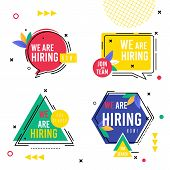 Set Inscription Collection We Are Hiring Now. On Center Hexagon Circle Square And Triangle With Insc poster