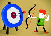 Retro Corporate Guy hitting the target with his bow and arrow.