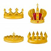 Vector Design Of Monarchy And Gold Sign. Collection Of Monarchy And Heraldic Stock Symbol For Web. poster