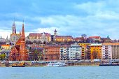 Budapest, Hungary Panorama With Buda Castle, St. Matthias Church And Fishermens Bastion From Danube  poster