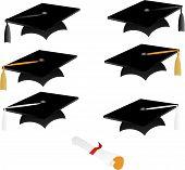 Graduation Caps And Diploma