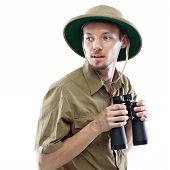 Explorer halten Ferngläser