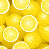 Seamless background with lemons. Vector illustration.