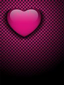 Valentines Day Glossy Emo Heart. Pink And Black Checkers