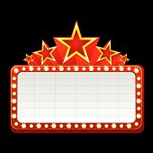 stock photo of marquee  - Classic blank neon sign for cinema theater or casino - JPG