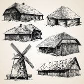 picture of wooden shack  - Drawings of old wooden buildings - JPG