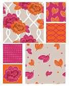 Seamless Bollywood Style Floral Vector Patterns and Swatches.  Use as fills or digital paper or create home furnishings using the patterns on fabric