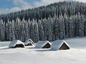 Snow-covered Huts In Slovenia