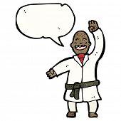 cartoon karate expert with speech bubble