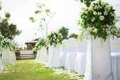 stock photo of marriage ceremony  - Wedding ceremony in a beautiful garden - JPG