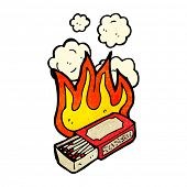 cartoon burning matchbox