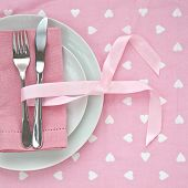 Knife And Fork With Pink Table Setting Ideal For Valentines Day
