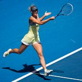 MELBOURNE - JANUARY 14: Maria Sharapova of Russia in her first round win over Olga Puchkova or Russi